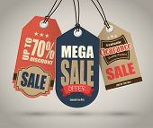 stock photo of paper cut out  - Vintage Style Sale Tags Design - JPG