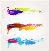 stock photo of vivid  - Black abstract brush strokes collection - JPG