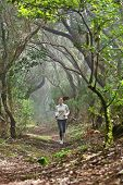 Runnerwoman cross-country running in beautiful forest trail run. Female athlete jogger training outd
