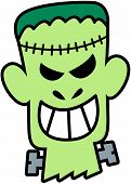 pic of frankenstein  - Scary and naughty green Frankenstein with seams in his head and screws in his neck while showing his teeth in a very perturbing and mischievous mood - JPG