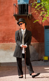 picture of snob  - Woman very snob in exterior - JPG