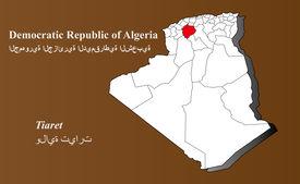 image of khenchela  - Algeria map in 3D on brown background - JPG