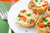 foto of mushroom  - Portobello mushrooms stuffed with mozzarella and cherry tomato - JPG