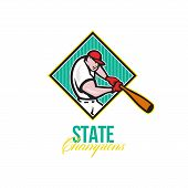 foto of hitter  - Illustration of a american baseball player batter hitter batting with bat inside diamond shape done in cartoon style with words State Champions - JPG