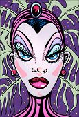 foto of drag-queen  - vegas showgirl hand drawn illustration vector style artwork - JPG