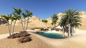 pic of oasis  - Oasis in the desert made in 3d software - JPG