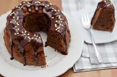 stock photo of lice  - German Gugelhupf cake with chocolate - JPG