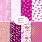 pic of english rose  - Set of eight seamless floral backgrounds - JPG
