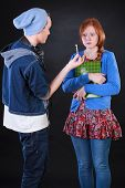 foto of polite girl  - Teenager boy giving marijuana to polite friend - JPG