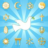 foto of sikh  - Gold symbols of 12 world religions surround Dove of Peace with olive branch - JPG