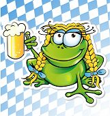image of glass frog  - funny frog cartoon with beer glass on background - JPG