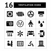 stock photo of ventilator  - Set icons of ventilation and conditioning isolated on white - JPG