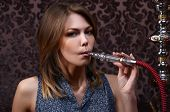 pic of hookah  - The beautiful sensual woman with a hookah - JPG