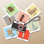 image of memento  - Camera with photographs of global landmarks and tourist attractions from  Russia  Japan  USA  Britain  France  Italy and Greece mementos of a worldwide tour  vector illustration - JPG