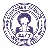 stock photo of non-permanent  - Round icon for non stop customer service with a professional female support operator providing through headset live qualified help and useful information  on white - JPG