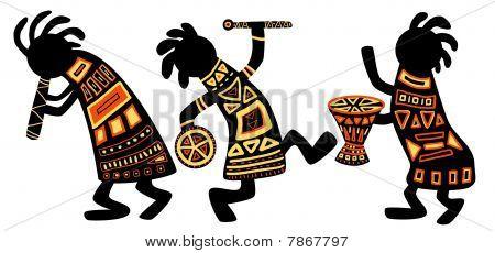 Постер, плакат: Африканские национальные модели, холст на подрамнике