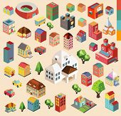 stock photo of colorful building  - Colorful vector isometric city and buildings collection - JPG