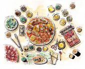foto of bbq food  - korean bbq food set illustration water colour - JPG