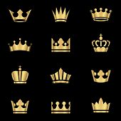 picture of crown  - Set of gold crowns icons - JPG