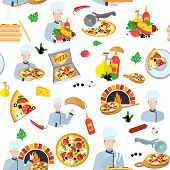 stock photo of hot fresh pizza  - Pizza maker seamless pattern with fresh food box and chef cook vector illustration - JPG