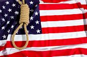 picture of death penalty  - Hang knot on American flag - JPG