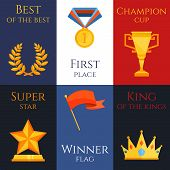 stock photo of king  - Award best of the best first place champion cup super star winner flag king of the kings mini poster set isolated vector illustration - JPG