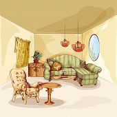 foto of interior sketch  - Living room interior sketch background with armchair sofa mirror and table vector illustration - JPG