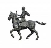 picture of great horse  - Statue of Alexander The Great Riding on His Horse Isolated on White Background - JPG