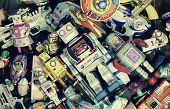 picture of tin man  - old robot toys  shot from above  - JPG