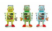 foto of tin man  - three robot toys in a line - JPG