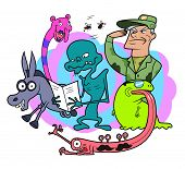 picture of wacky  - Funny group of random bizarre cartoon characters - JPG