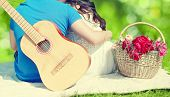 picture of guitar  - Summer love valentines day vacation and people concept  - JPG
