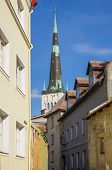image of olaf  - Saint Olaf church and houses of old Tallinn ESTONIA - JPG