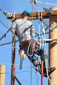 pic of lineman  - an electrical lineman working on lines - JPG