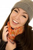 picture of beanie hat  - Asian American teen smiling wearing beanie and scarf - JPG