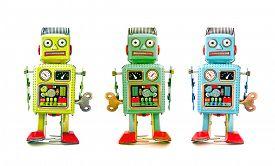 foto of tin man  - three robot toys in a line - JPG
