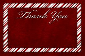 picture of candy cane border  - A Thank You card A Candy Cane border with words Thank You over red plush background with copy - JPG
