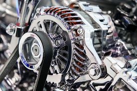 foto of lube  - Engine with metal and chrome parts of the automobile motor - JPG