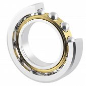stock photo of friction  - Isolated realistic bearing section on a white background with light scratches - JPG