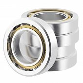 stock photo of friction  - Stack isolated realistic bearings on a white background with light scratches - JPG