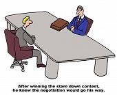 picture of won  - Cartoon of businessmen in negotiation - JPG