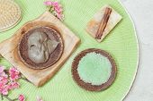 picture of mud  - Spa setting with natural cinnamon pumpkin  soap - JPG