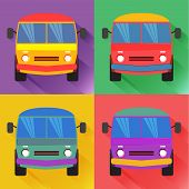 pic of woodstock  - Set of colored minivan in the flat style - JPG