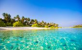 picture of deserted island  - Perfect beach with turquoise water at ideal island - JPG