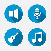 stock photo of speaker  - Musical elements icons - JPG