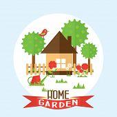 stock photo of bird fence  - Vector garden illustration in flat style - JPG