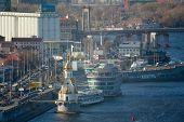 image of kiev  - Kiev business and industry city landscape on river bridge and buildings - JPG