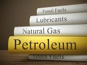 image of biogas  - book title of petroleum isolated on a wooden table over dark background - JPG