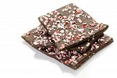 foto of peppermint  - Choolate bark with peppermint on a white background - JPG