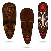 pic of african mask  - Three African masks in color - JPG